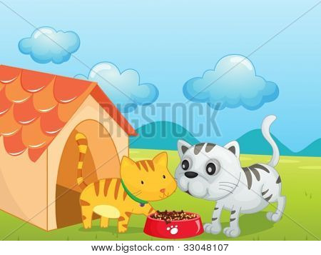 Illustration of two cute kittens eating