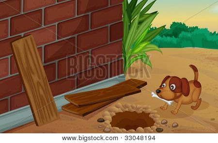 Illustration of a dog digging for a bone