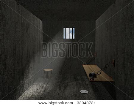 3d empty prison room