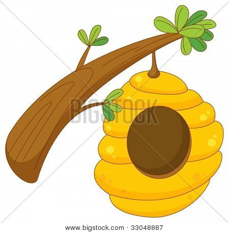 cartoon of a beehive hanging from a branch