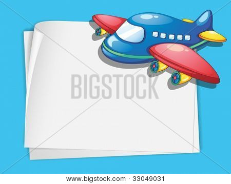 White paper template with a plane cartoon