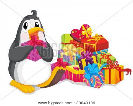 Penguin sitting with christmas presents - EPS VECTOR format also available in my portfolio.