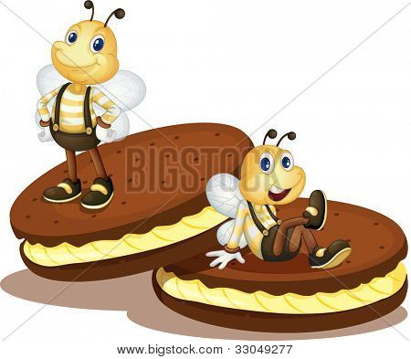 Cute bees on two biscuits - EPS VECTOR format also available in my portfolio.