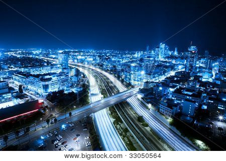 Aerial  View Of Tel Aviv At Night - Tel Aviv Cityscape