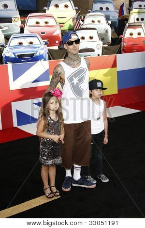 LOS ANGELES - JUNE 18: Travis Barker at the Premiere of Walt Disney Pictures' 'Cars 2' at the El Capitan Theatre in Los Angeles, California on June 18, 2011.