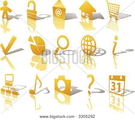 gold Web Button Icons Set Shadow widerspiegeln