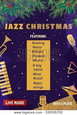 poster of Template Design Poster Christmas Jazz. Design Idea Live Jazz Music Festival Show Flyer Promotion Adv