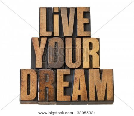 live your dream - motivation reminder - isolated text in vintage letterpress wood type