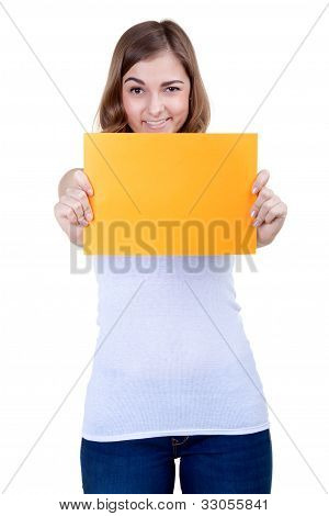 Beautiful Girl With A Yellow Sheet Of Paper Winks