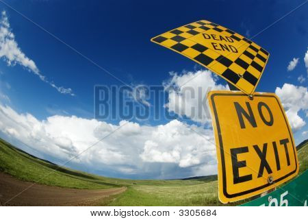 Rural Road With Dead End And No Exit Sign