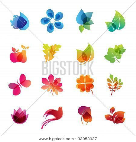 bunte Natur Icon-set