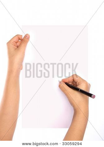 Hands with pen over paper isolated on white background