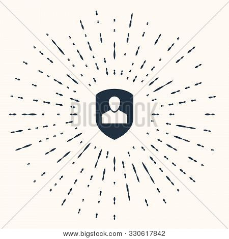 poster of Grey User Protection Icon Isolated On Beige Background. Secure User Login, Password Protected, Perso