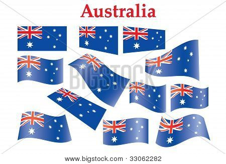 Set Of Australia Flags