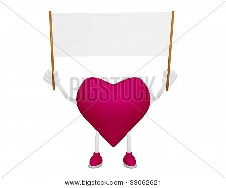 Heart Character With Billboard Blank Streamer On White Background 3D