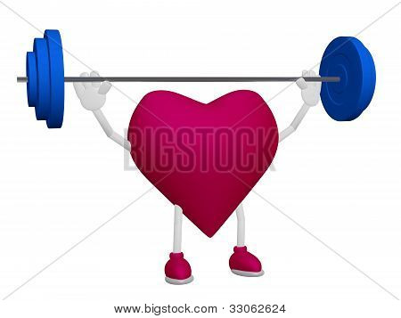 Heart Health Training Weight Sport Concept On White Background