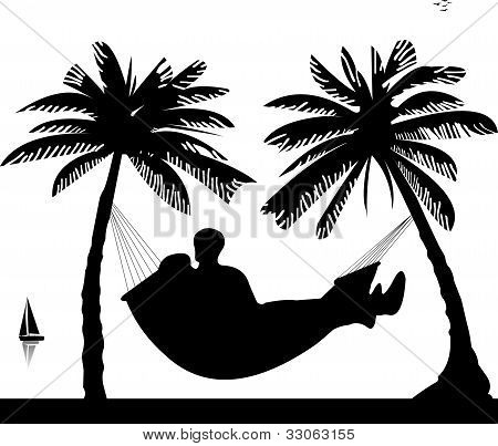 Silhouette of romantic couple sunbathing and relaxing of hammock under the palm trees on beach