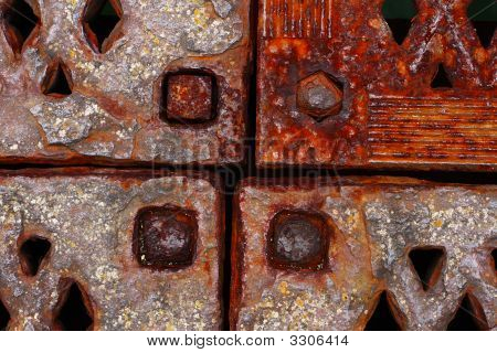 Grunge Rusty Metal Frames Four Corners With Rivets Close-Up