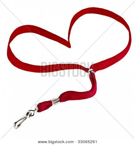 Red Lanyard Heart with  hook  isolated on white background