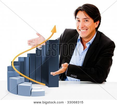 Man displaying a graph showing business growth - isolated over white