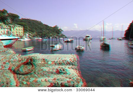 Yachts and boats in bay of Portofino on Ligurian sea, Italy (anaglyph stereoscopic image. Need Red Cyan glasses to see this image properly).