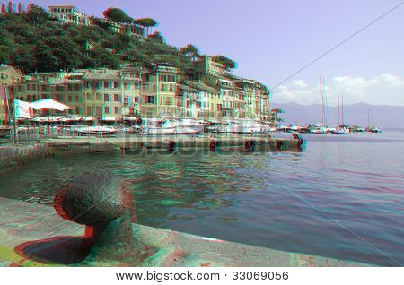 View from pier on small harbor and town of Portofino on Ligurian sea, Italy (anaglyph stereoscopic image. Need Red Cyan glasses to see this image properly).
