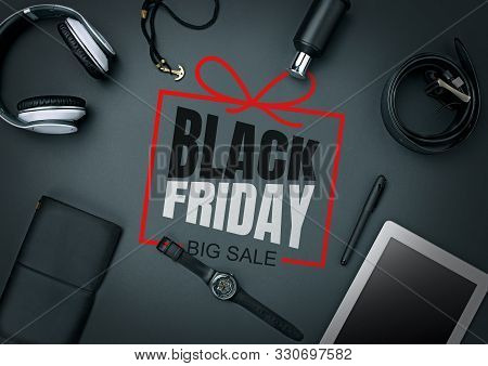 poster of Top View Of Gadgets With Black Friday Lettering On Black Background. Copyspace For Your Ad. Black Fr