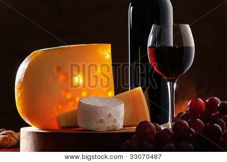 Still-life With Cheese, Grape And Wine