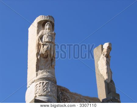 Beautiful Ancient Columns At Ephesus