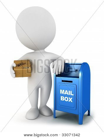 3d white people with a mail package