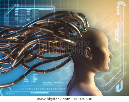 Female figure with some cables attached to her head, on an high technology background. Digital illustration.