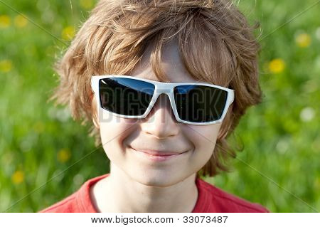 Blonde Naughty Little Boy Wearing Sunglasses
