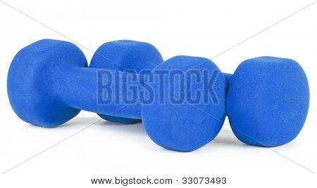 Two blue dumbells on white background