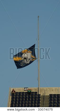 Half mast Chargers flag for Jr. Seau