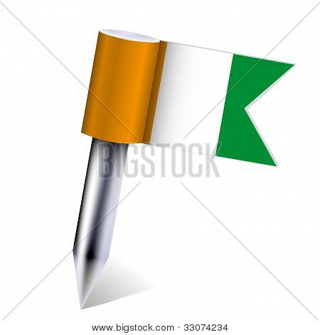 Vector Côte D'ivoire Flag Isolated On White. Eps10