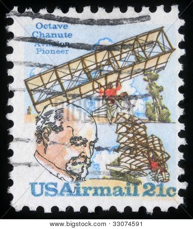 UNITED STATES OF AMERICA - CIRCA 1978: A stamp printed in the United States of America shows Octave Chanute, pioneer of aviation, circa 1978