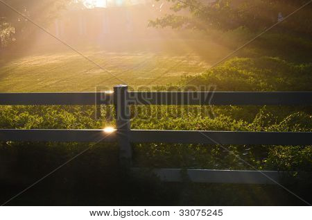 Misty sunrise over a fenced field