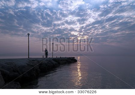 Sunrise, Pier And The Old Man