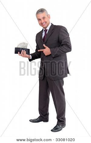 Business man making money isolated on white background