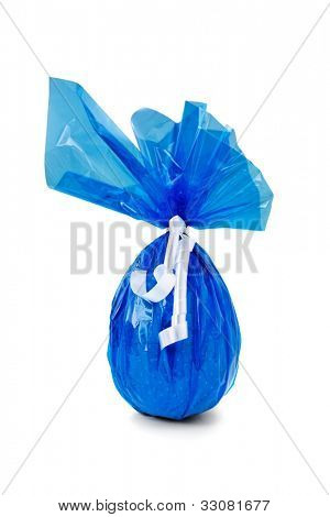 Blue Chocolate Easter Egg on white background