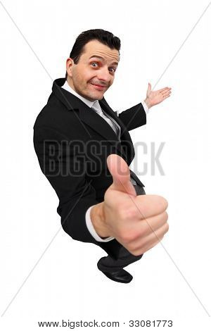 Presenting with thumbs up isolated on white background