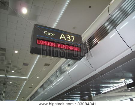 International airport  gate sign