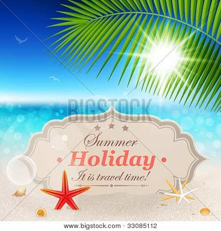 Beautiful seaside view with vintage greeting card, sand and palm leaves. Summer holiday vector background.