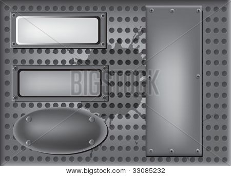illustration with grey metal panels with screws