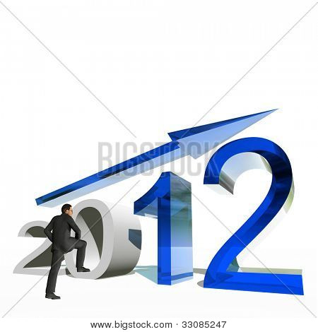 High resolution conceptual 3D 2012 year with a growing arrow isolated on white background with a business man. It is a metaphor for economy, finance, progress,success,improvement,profit designs.