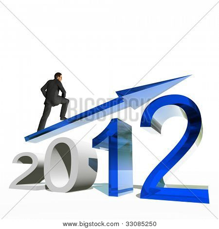 High resolution conceptual 3D 2012 year with a growing arrow isolated on white background with a business man surfing. A metaphor for economy, finance, progress,success,improvement,profit designs.