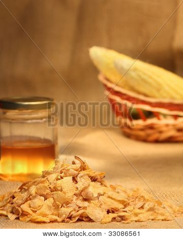 Cornflakes With Honey And Corn Cobs