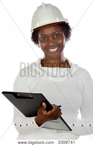 Woman Engineer Writing