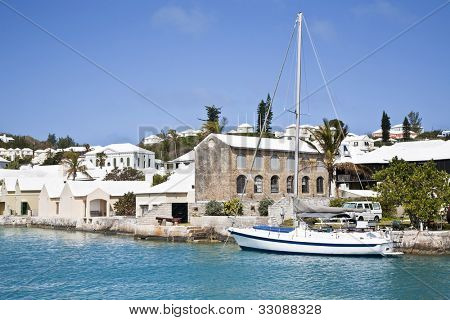 Sailing ship along the waterfront of the town of St. George's, Bermuda.