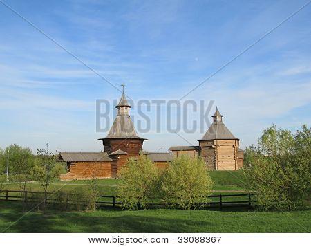 Moscow. Manor Kolomenskoe. The tower of St. Nicholas Monastery and Korelsky Mokhovaya Tower Sumsky p